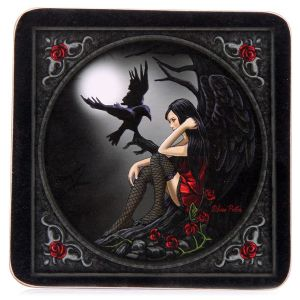 Gothic Coasters~Gothic Mystical Dark Angel with Raven Coasters~Fair Trade by Folio Gothic Hippy~KP02